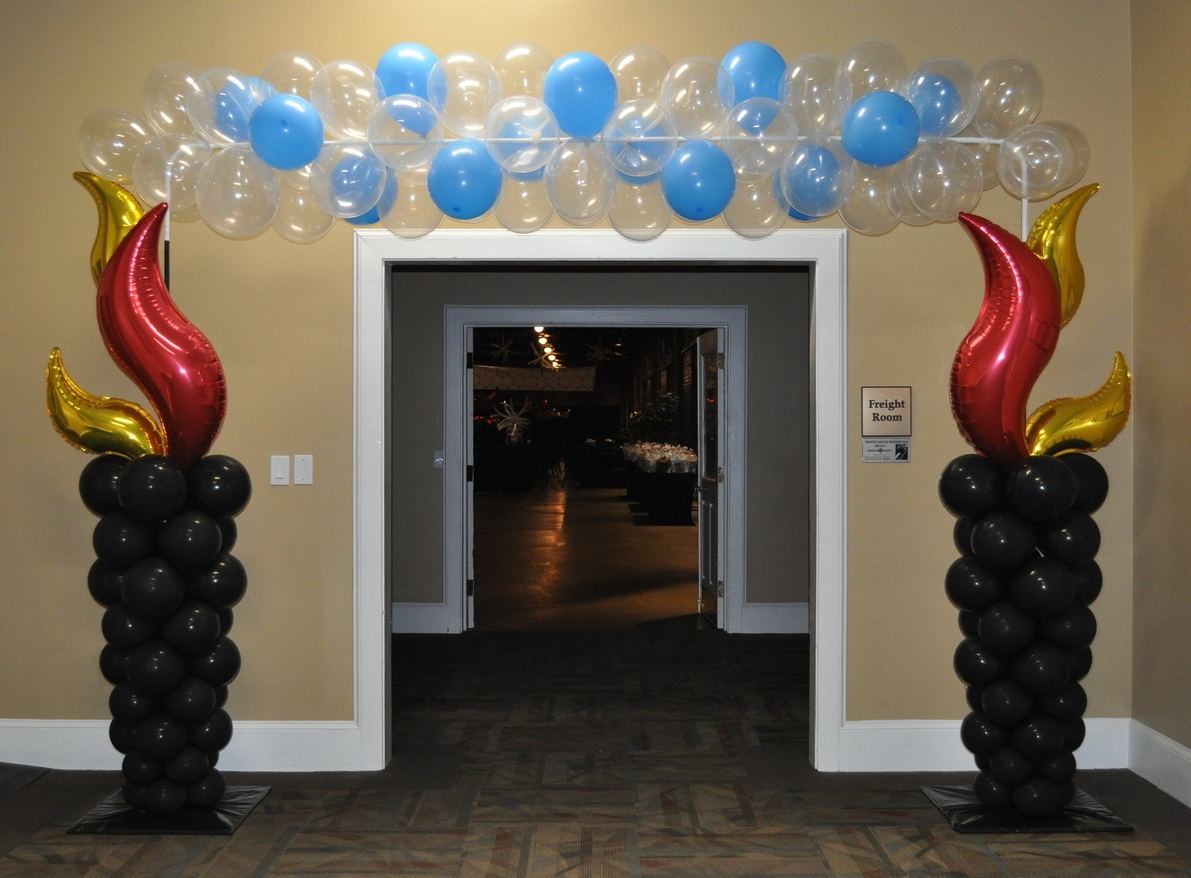 Fire and ice themed prom balloon entranceway