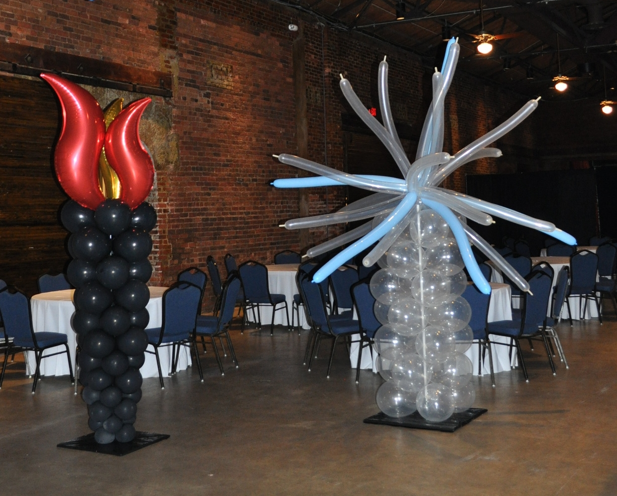 Fire and ice themed prom balloon columns