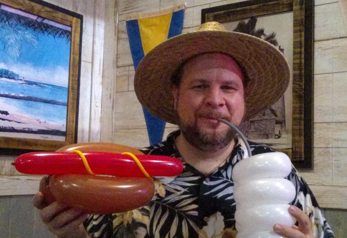 balloon hot dog and soda