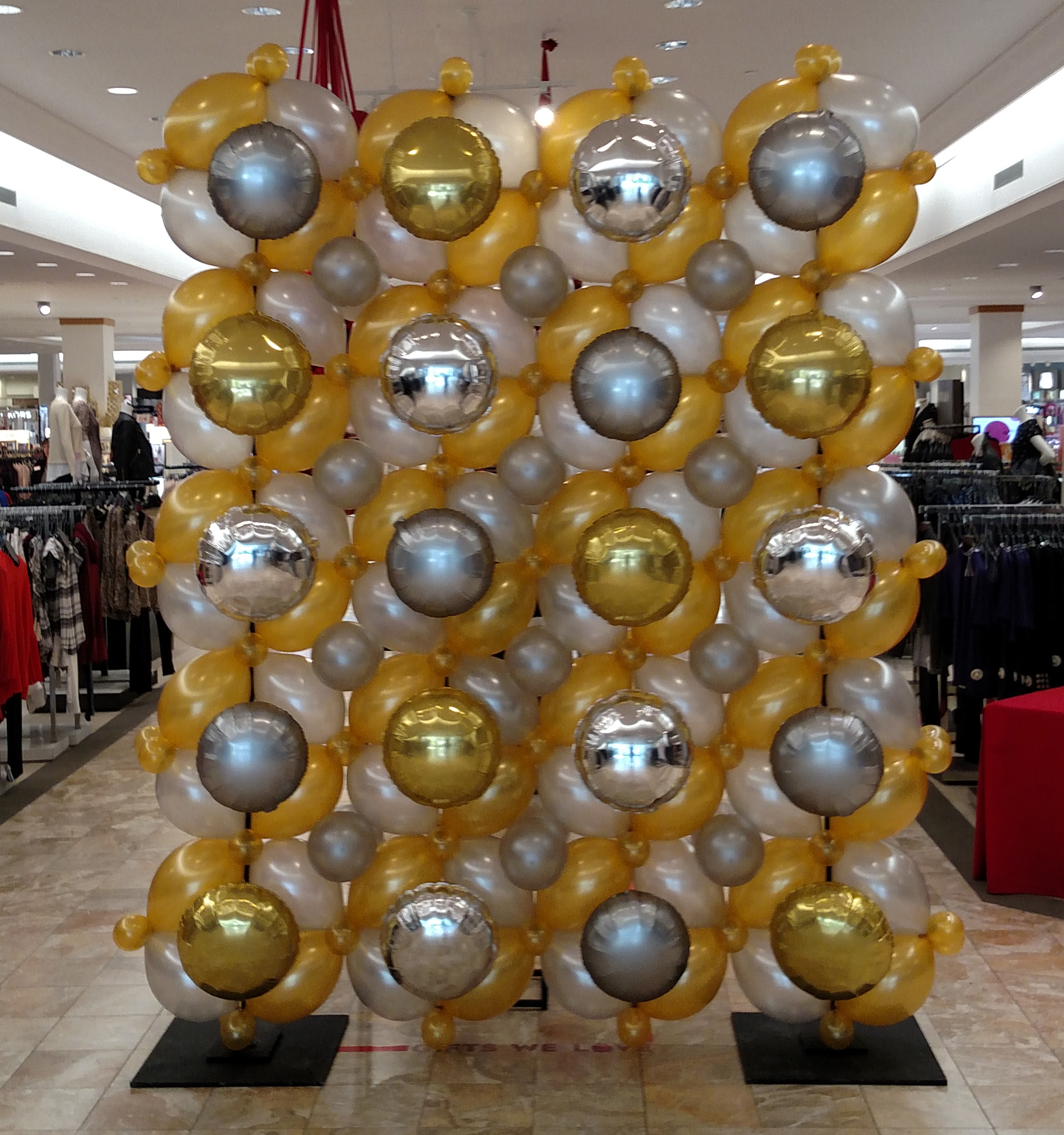 Macy's Silver, Gold, and Platinum Balloon Wall