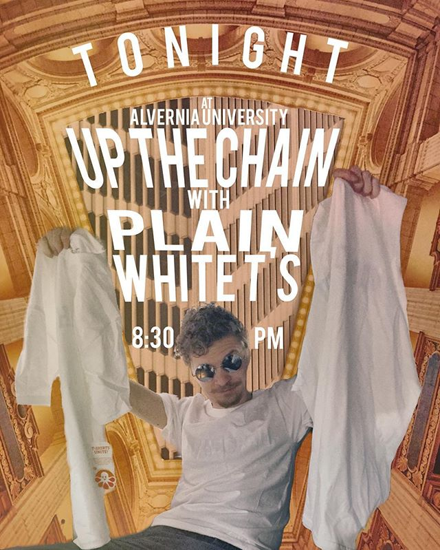 Tonight we get to share the stage with @plainwhitets at @alverniauniversity Come get your UTC patent pending, ™ ready, © aware, ®, white on white T shirts. Talk to the #vchill @peachlevine and she'll give ya a good deal!