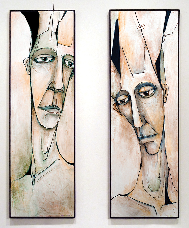 "LEADER MONE & LEADER MU  | WIRE & METAL RELIEF, ACRYLIC ON WOOD | 48"" X 15"" EACH"