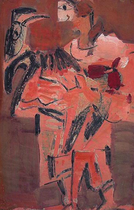 Mexican with Goat, 1963    Medium: Acrylic and tempera on paper  Size: 36 x 24 inches  Markings: Signed and dated on the lower left side