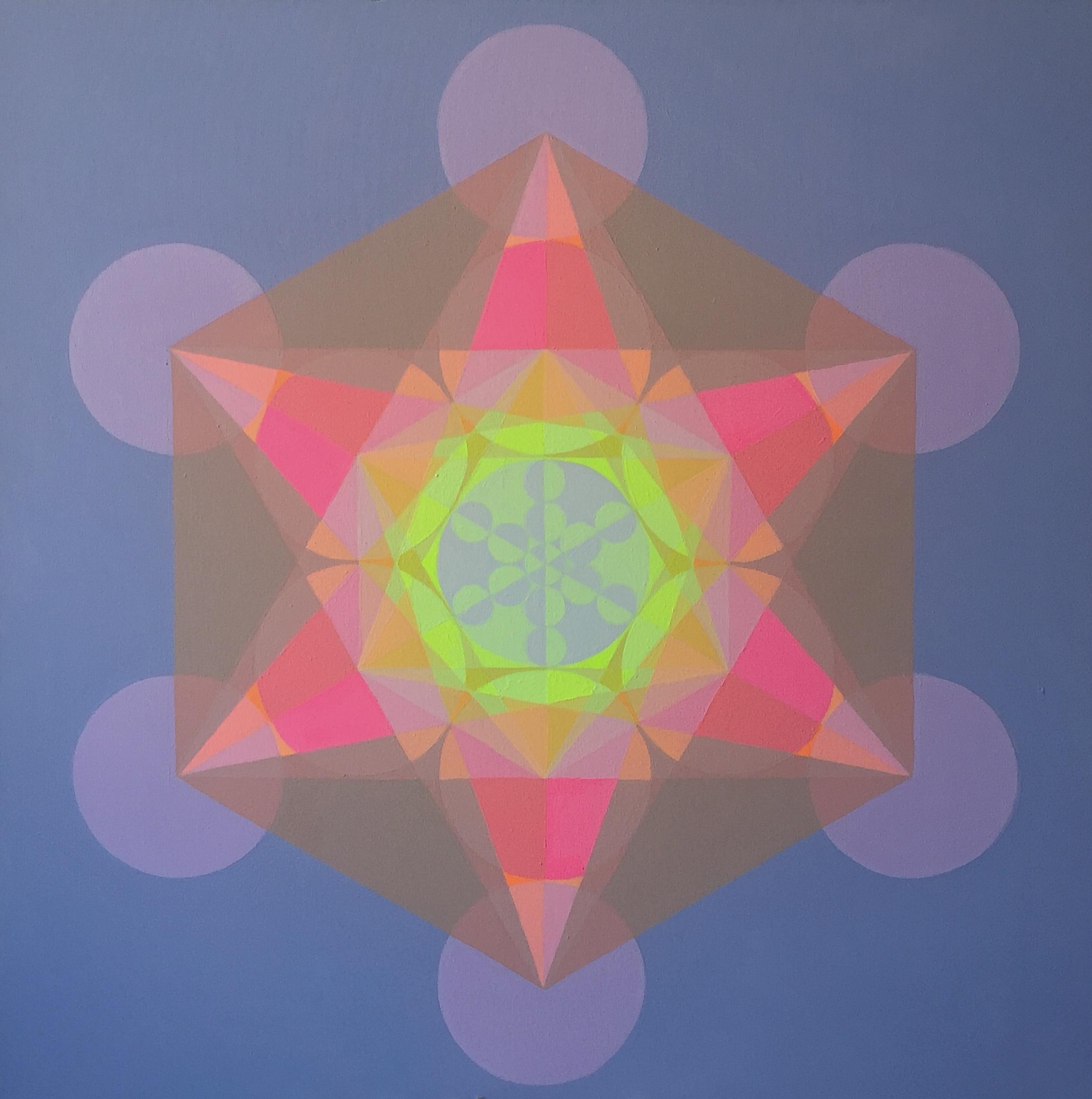 "Light Merkaba, 2015, 40"" x 40"", acrylic on canvas"