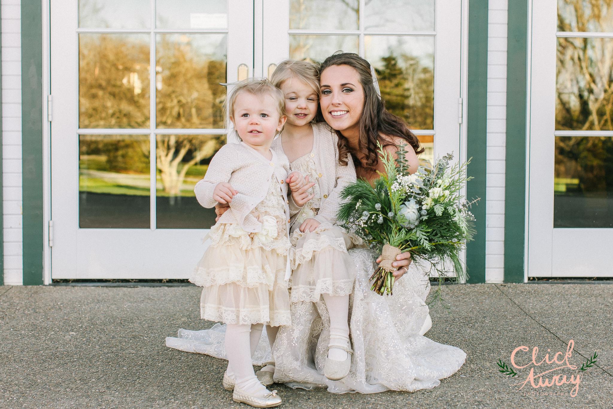 bride with flower girls in Ohio wedding