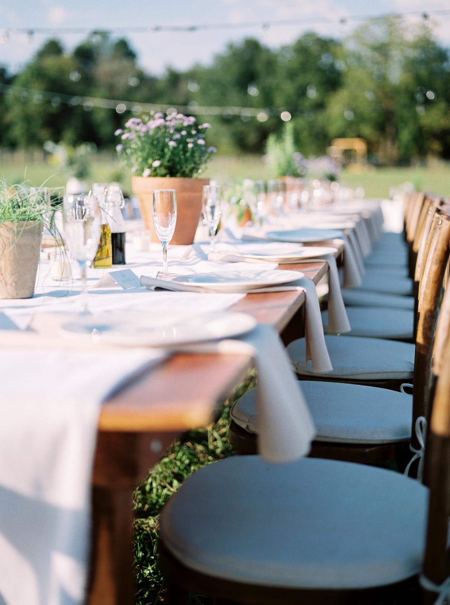 table setting at farmhouse wedding