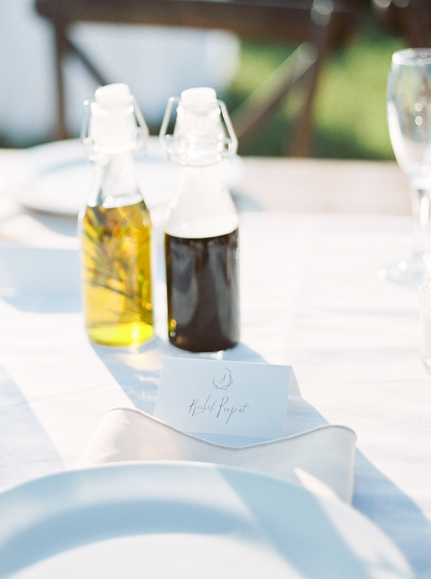 oil and vinegar on table