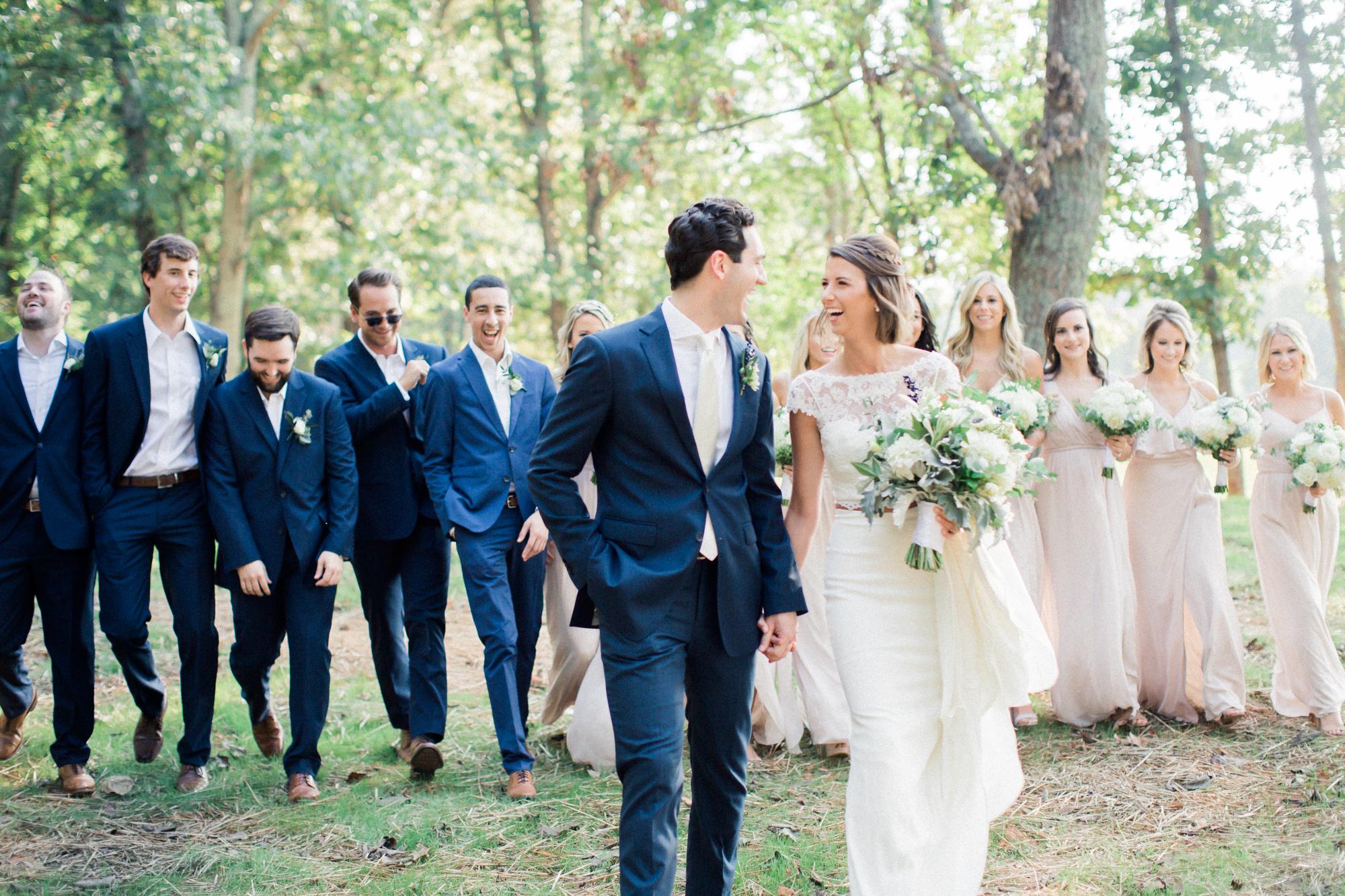 Bridal party in farmhouse wedding