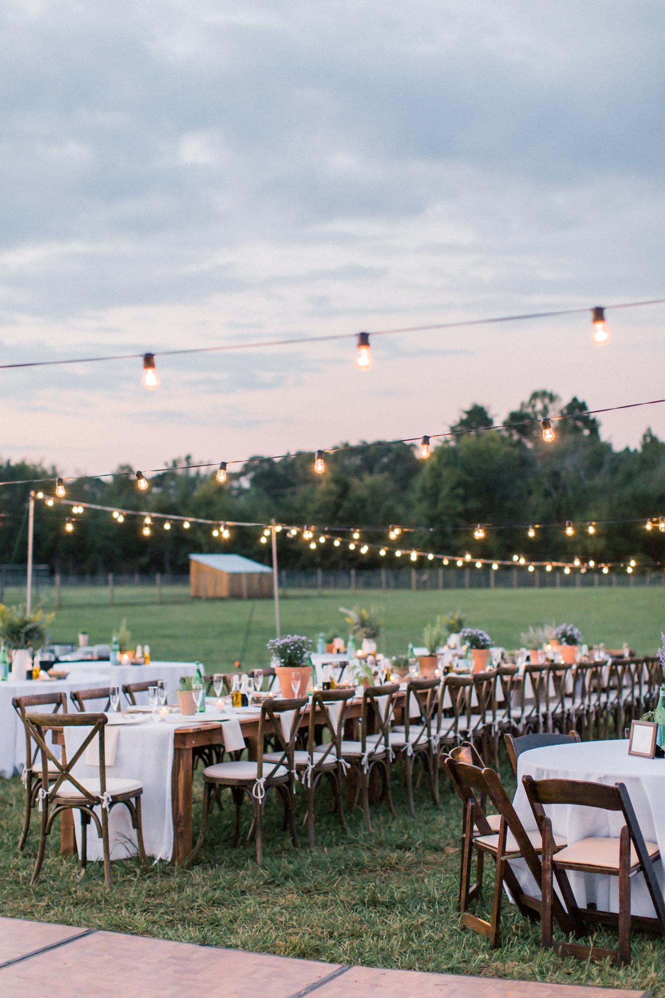 wedding reception at sunset