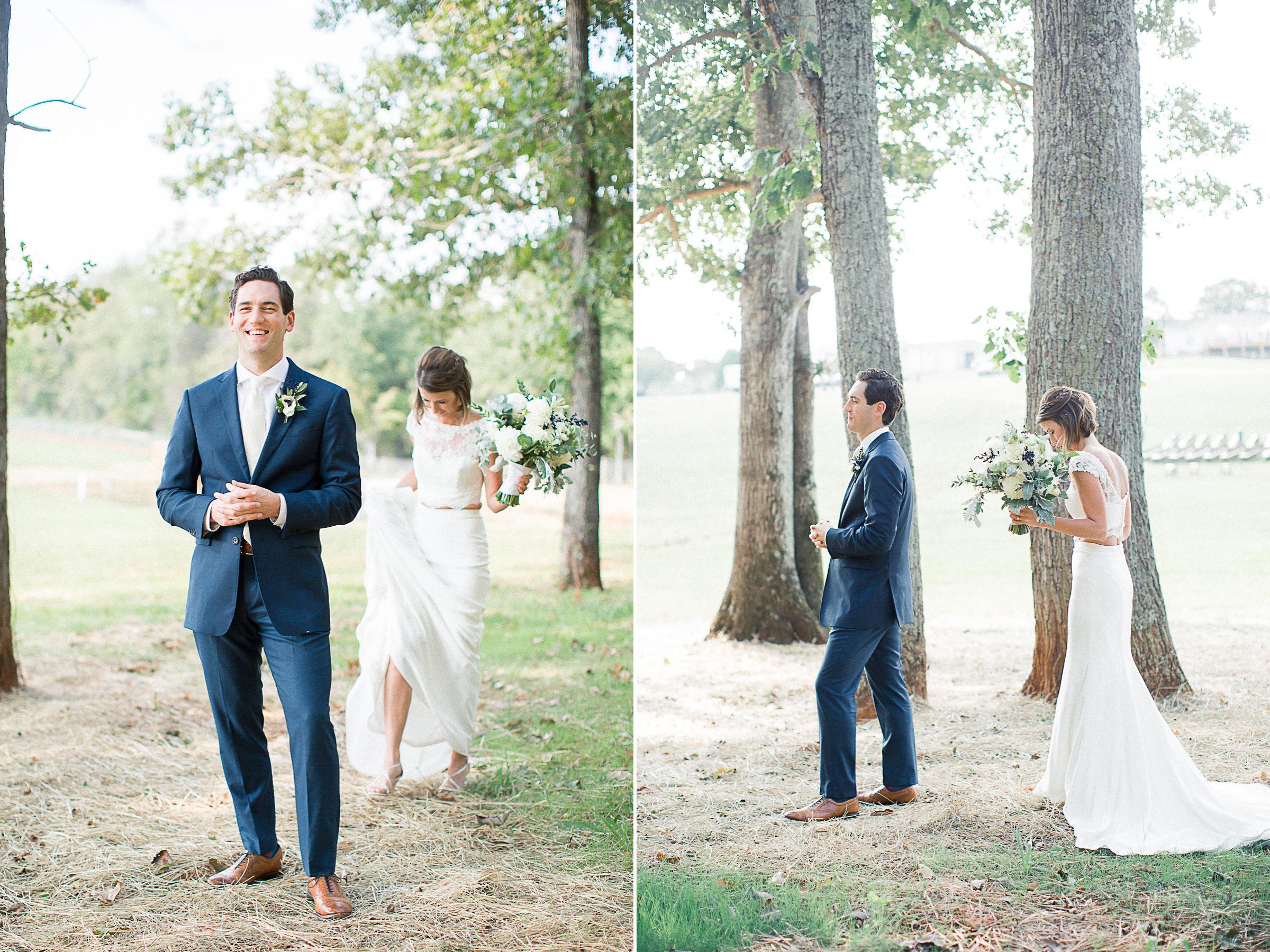 First look farmhouse wedding