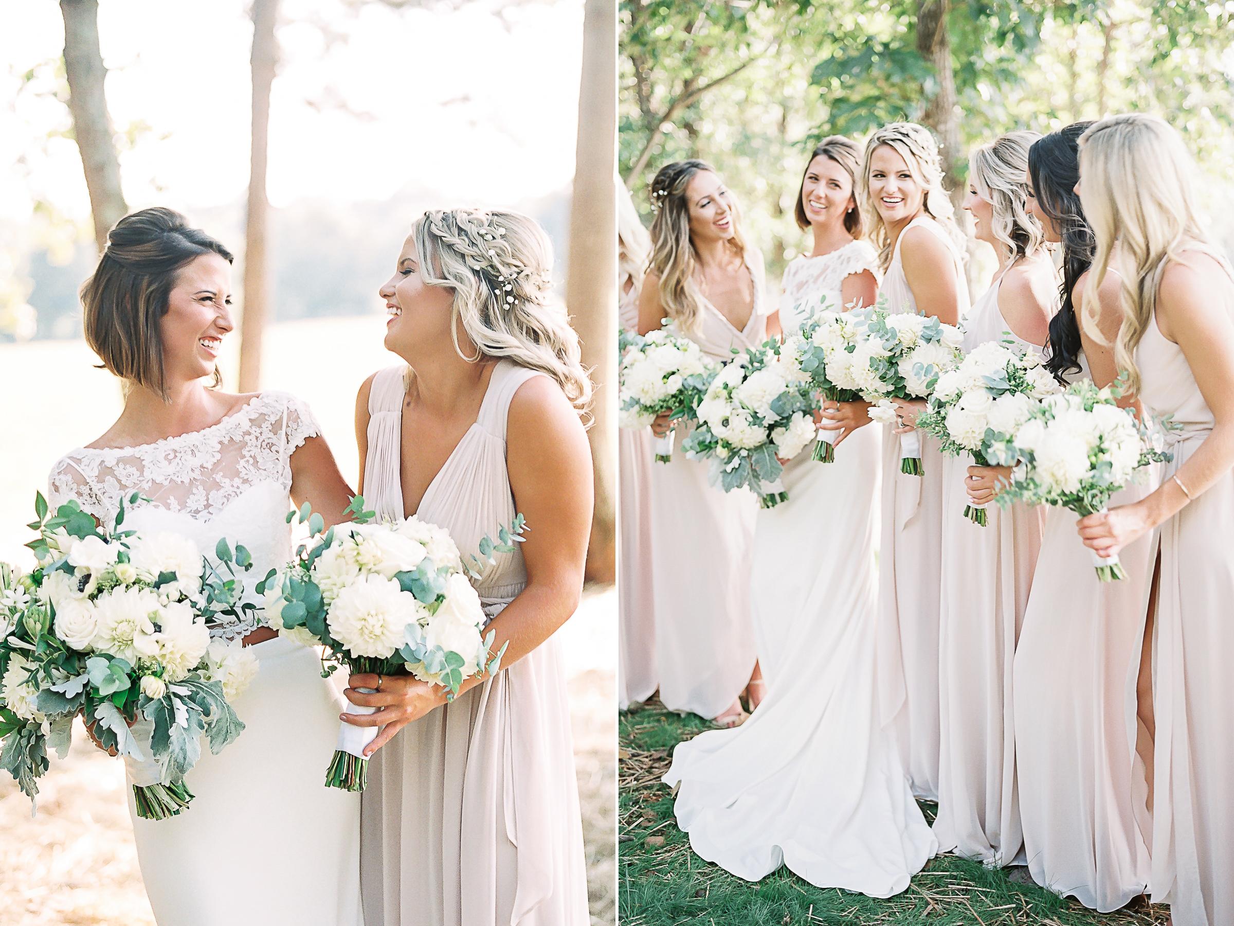Bridesmaids looking at bride