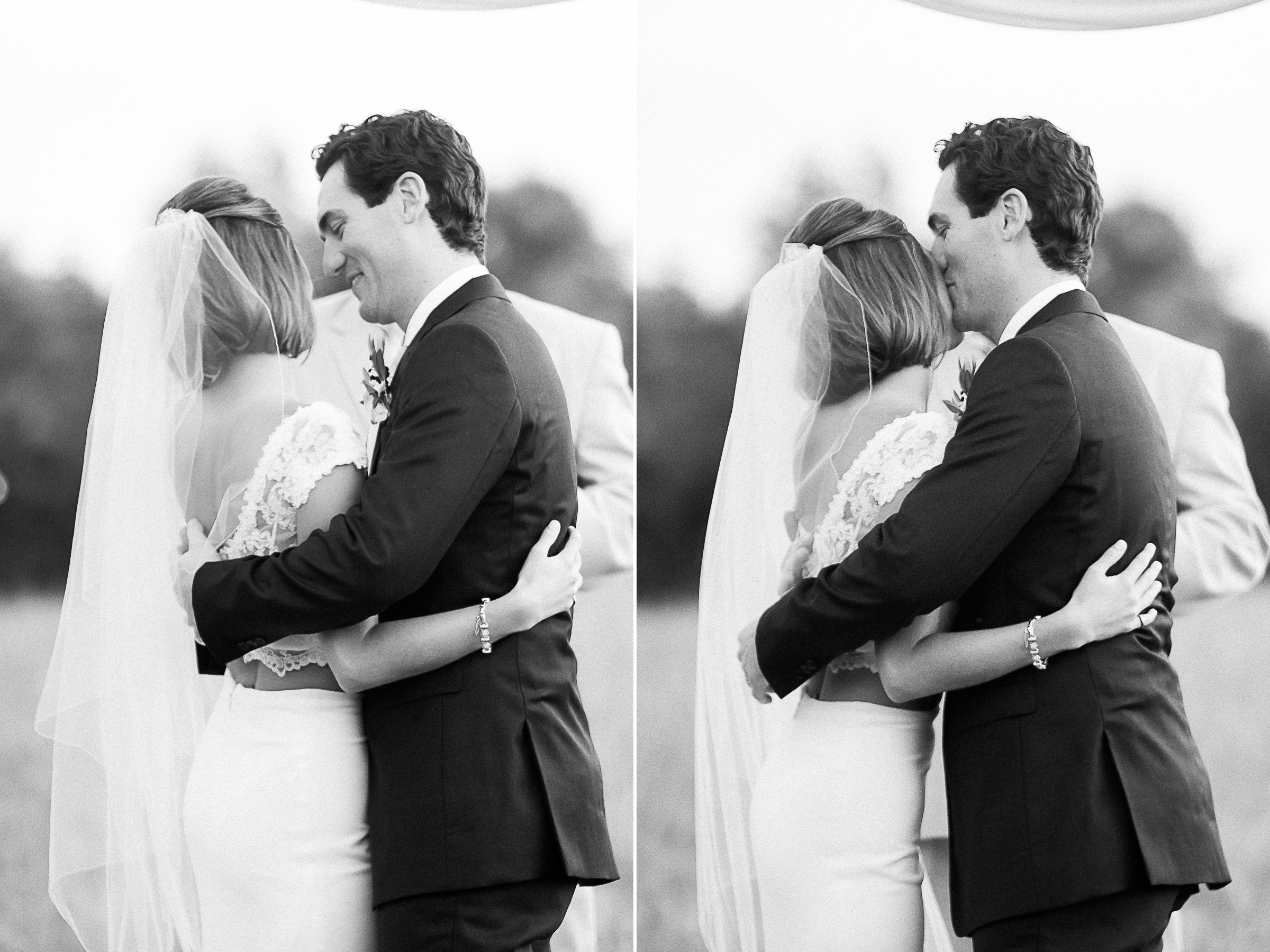 bride and groom ceremony in black and white