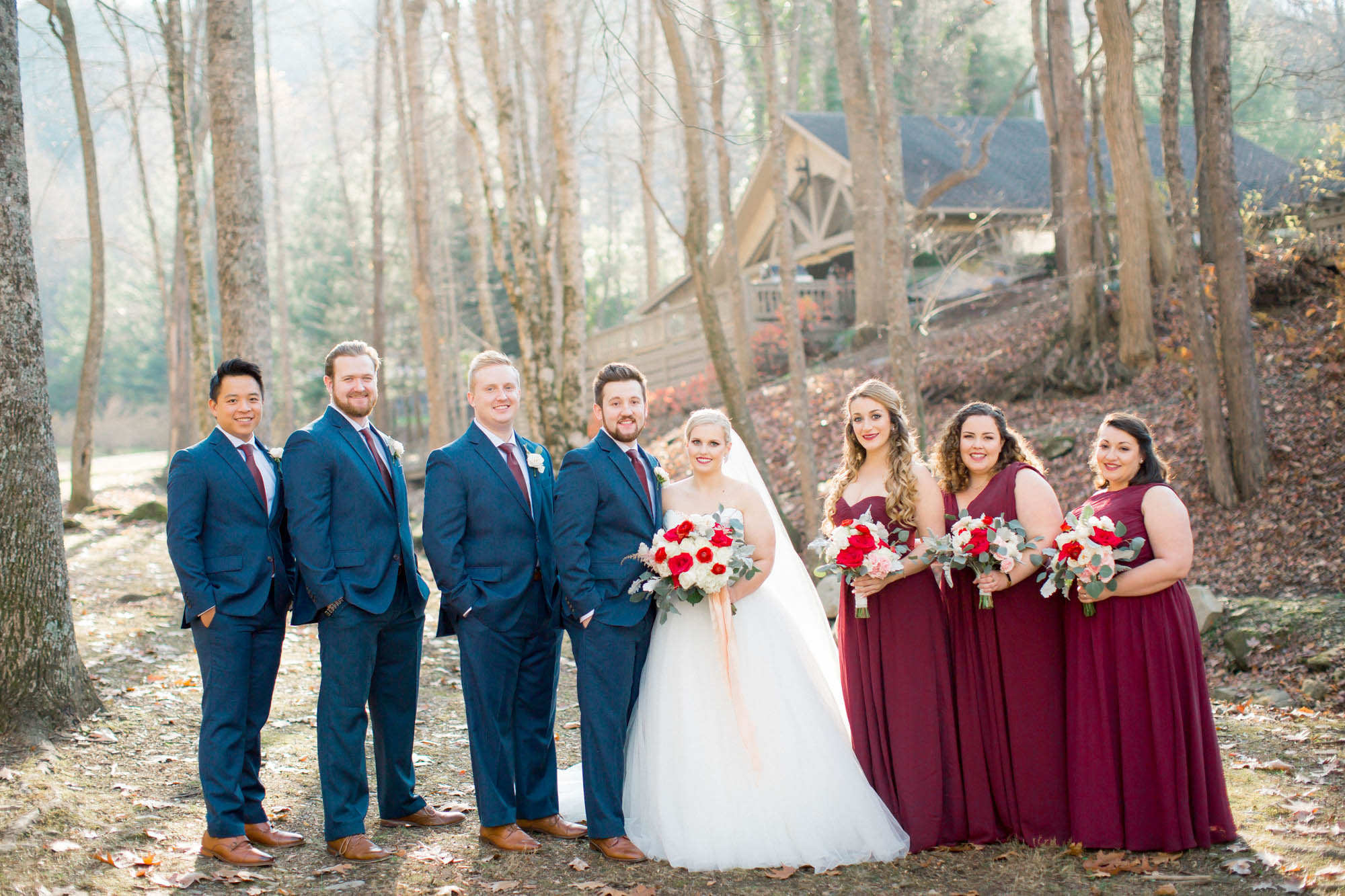 Bridal party mountain wedding hawkesdene Andrews, NC