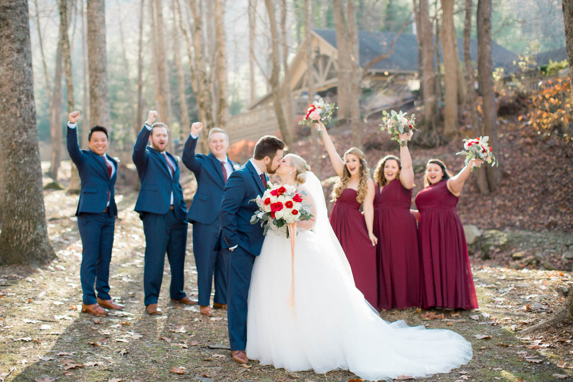 Bridal party mountain wedding Charlotte wedding photographer Andrews, NC