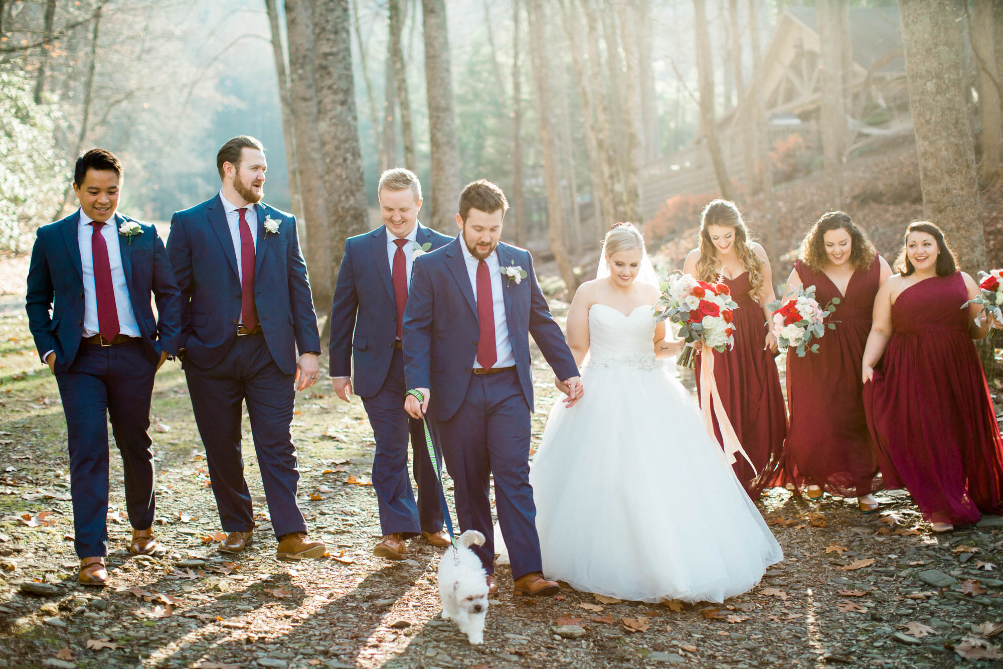Bridal party walking mountain wedding Andrews, nc