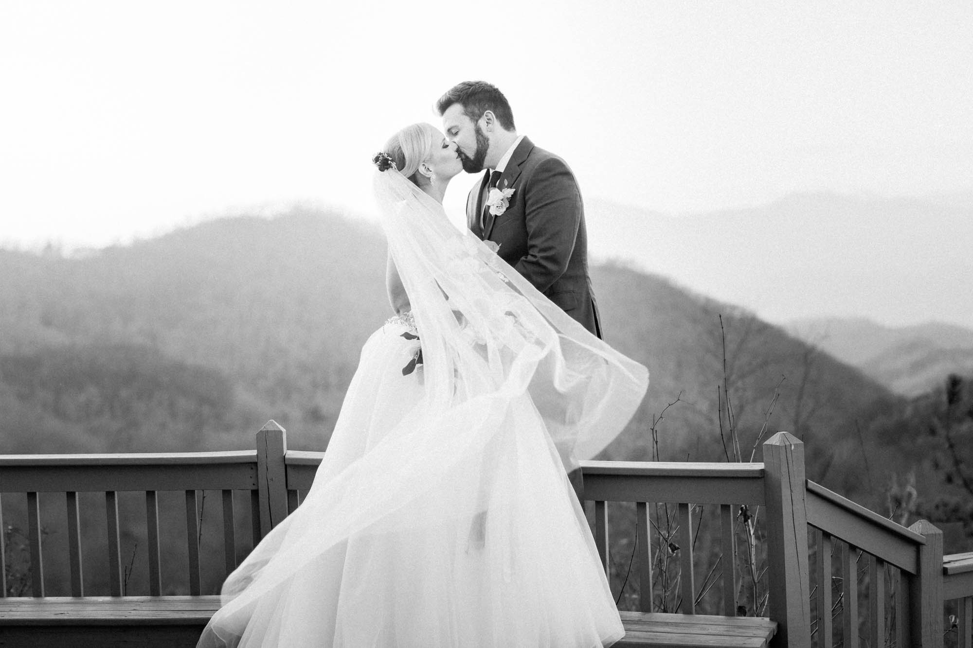 black and white mountain wedding