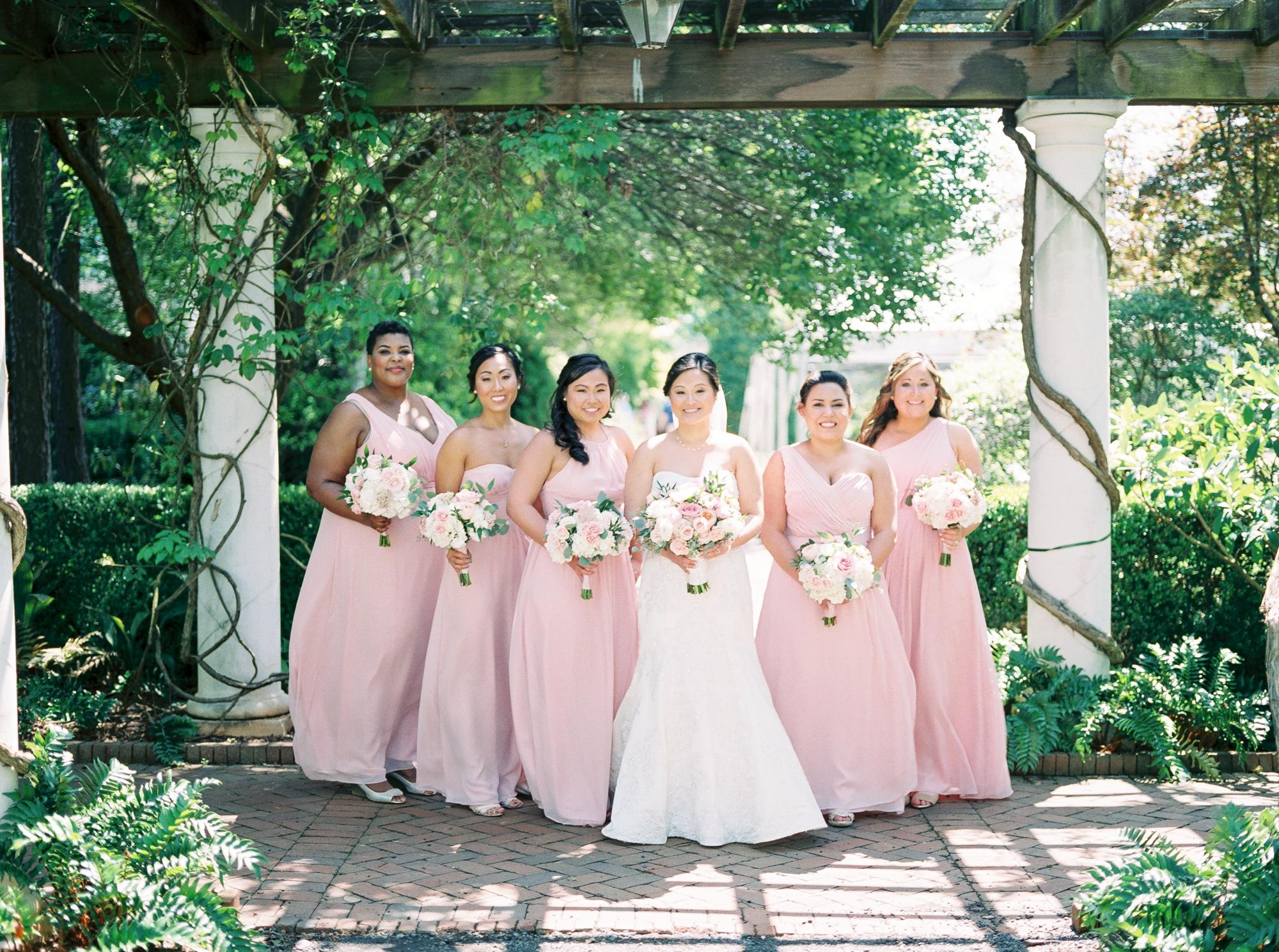 blush pink bridesmaids at daniel stowe botanical gardens