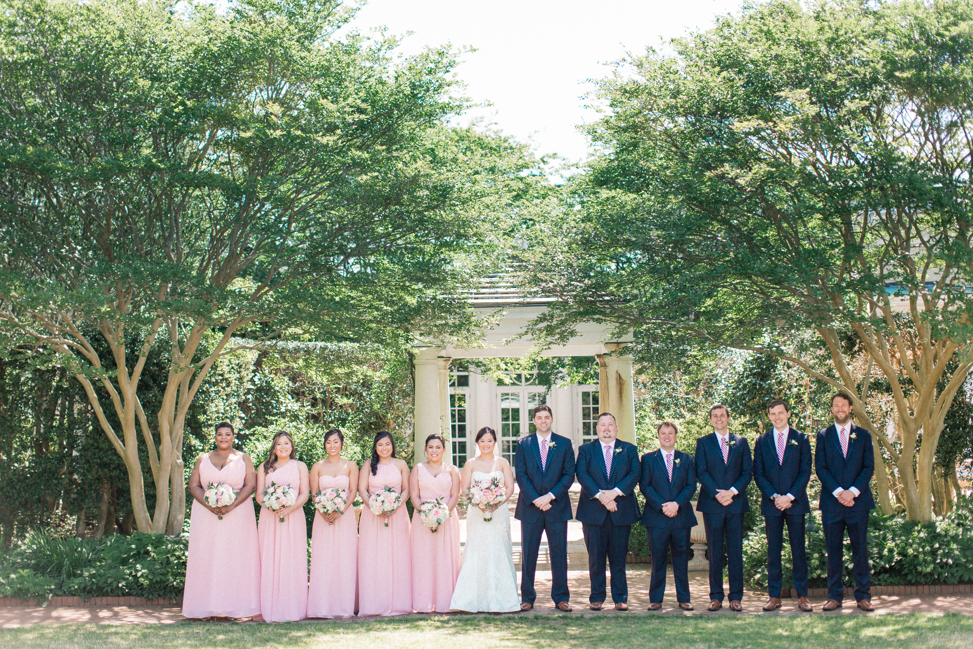 wedding party at daniel stowe botanical gardens