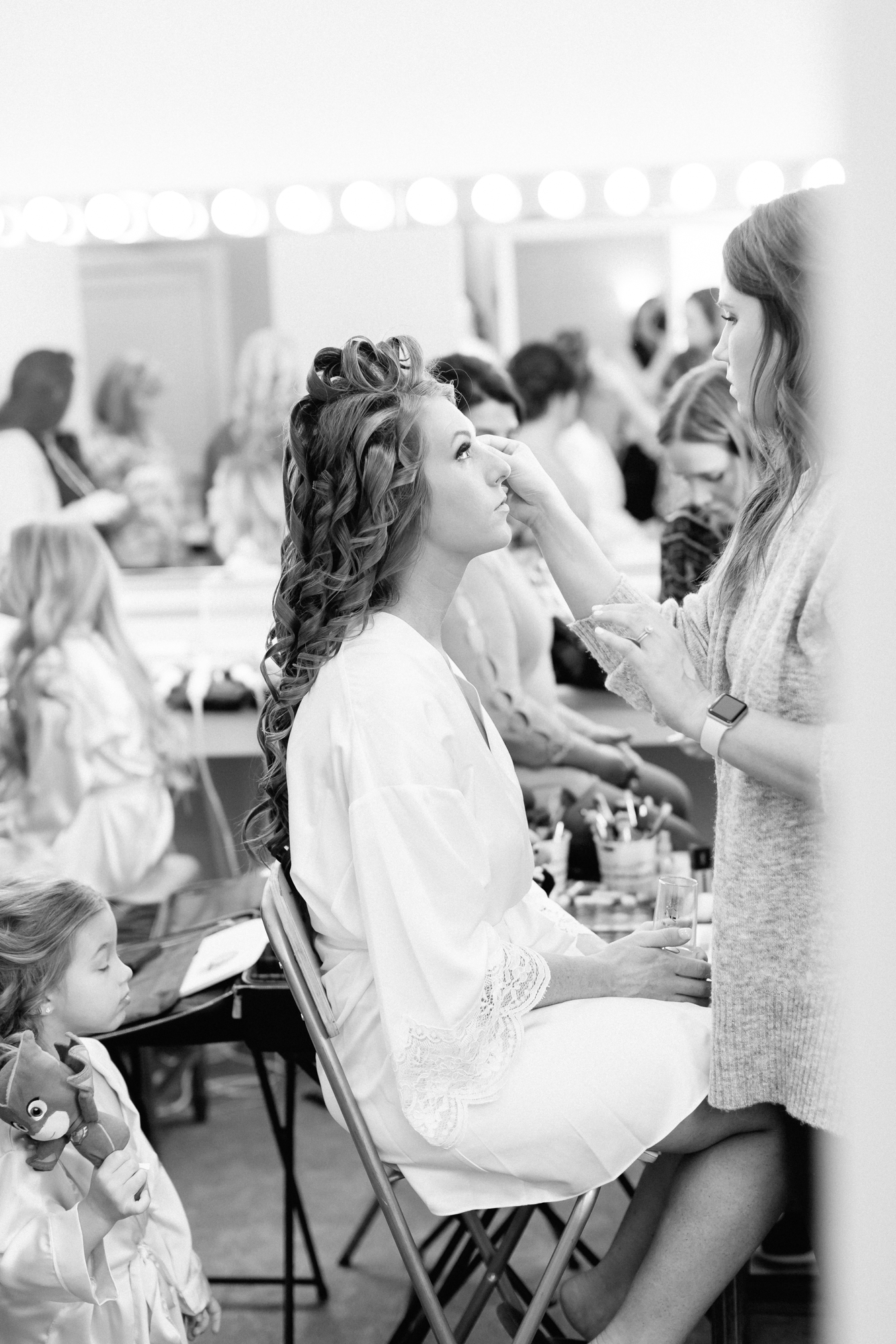 bride getting ready, bridal robe