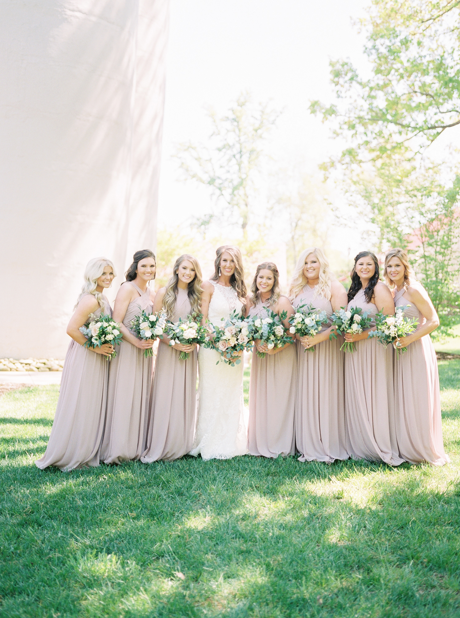 bridesmaids in neutral colors
