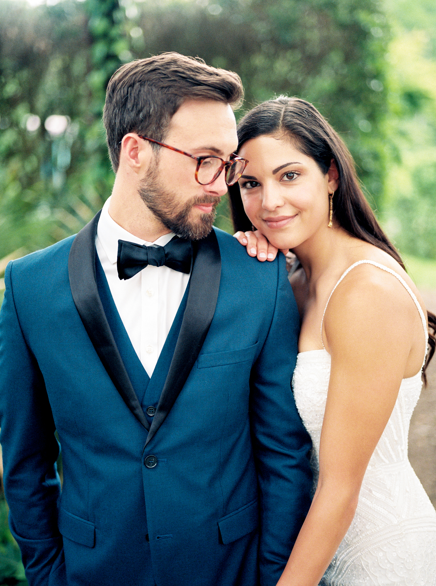 trendy bride and groom with glasses