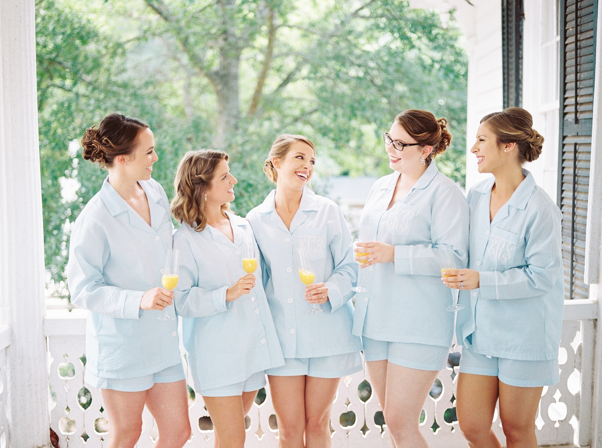 bride with bridesmaids in pjs