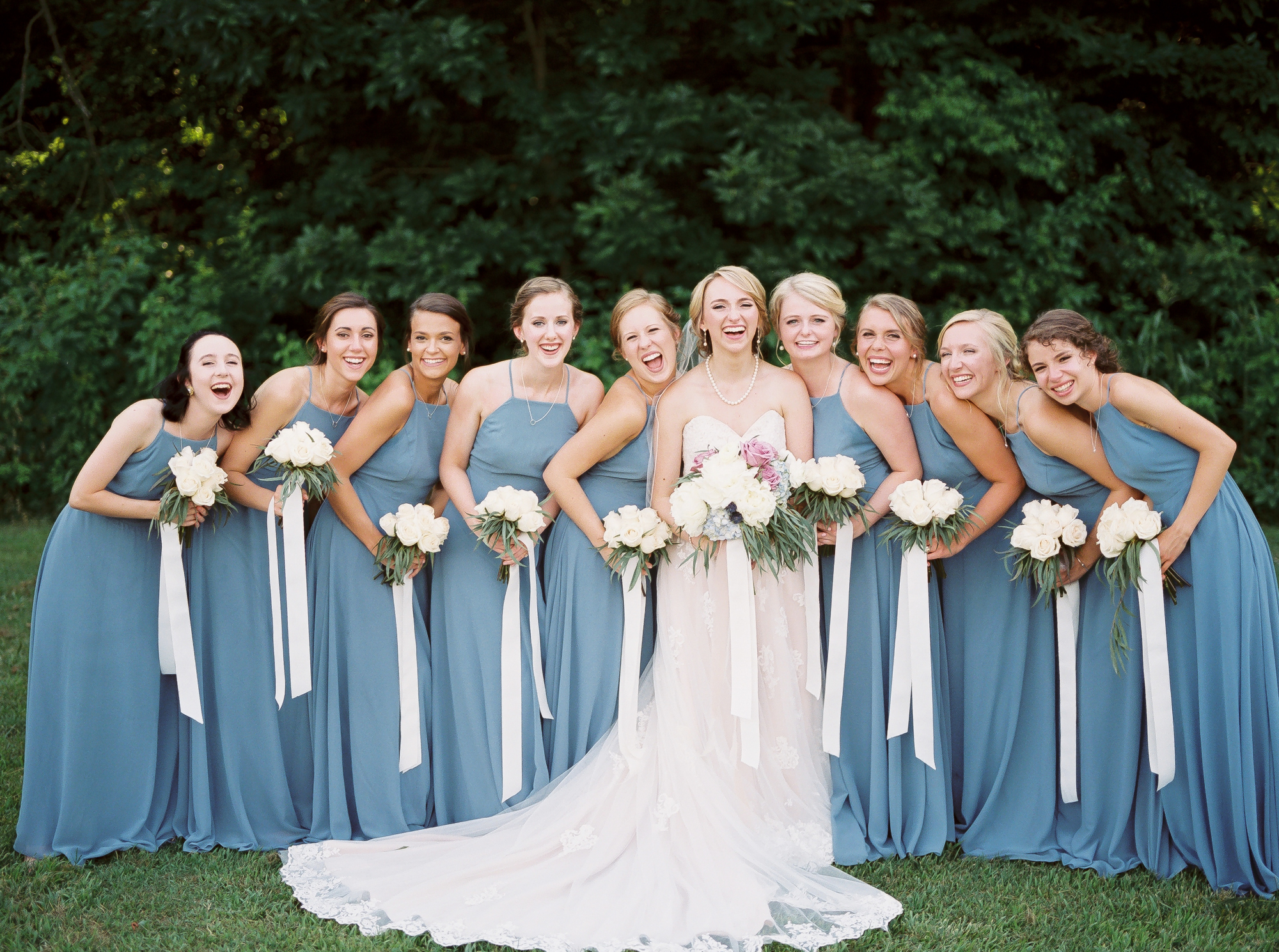 bride with bridesmaids, blue dresses