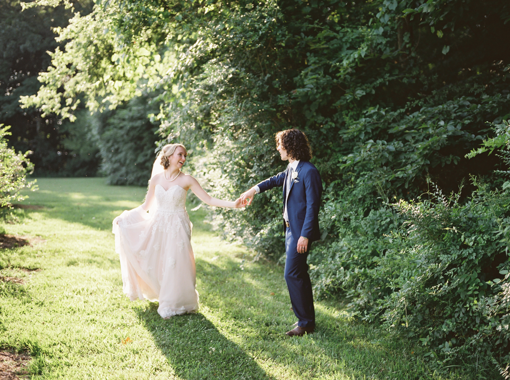film wedding photography of bride and groom