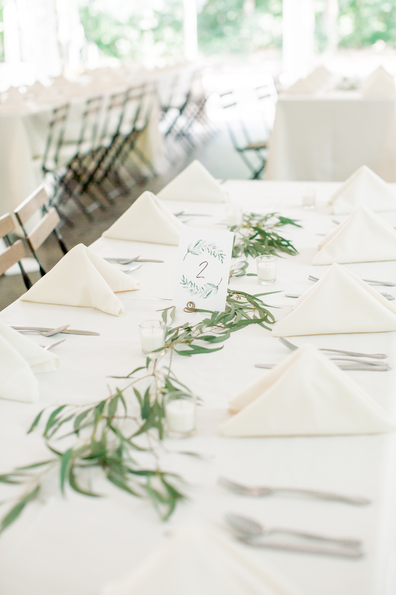 simple table setting with greenery