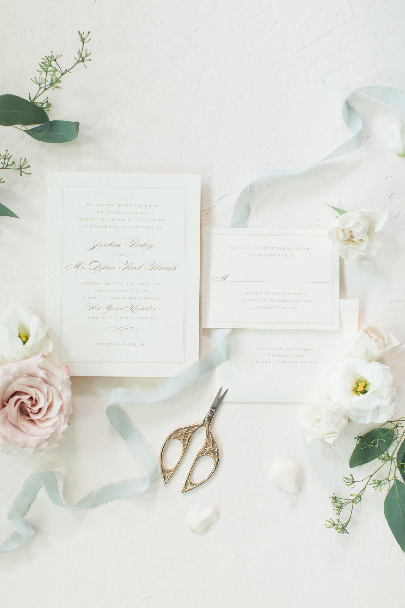 wedding day calligraphy stationary white