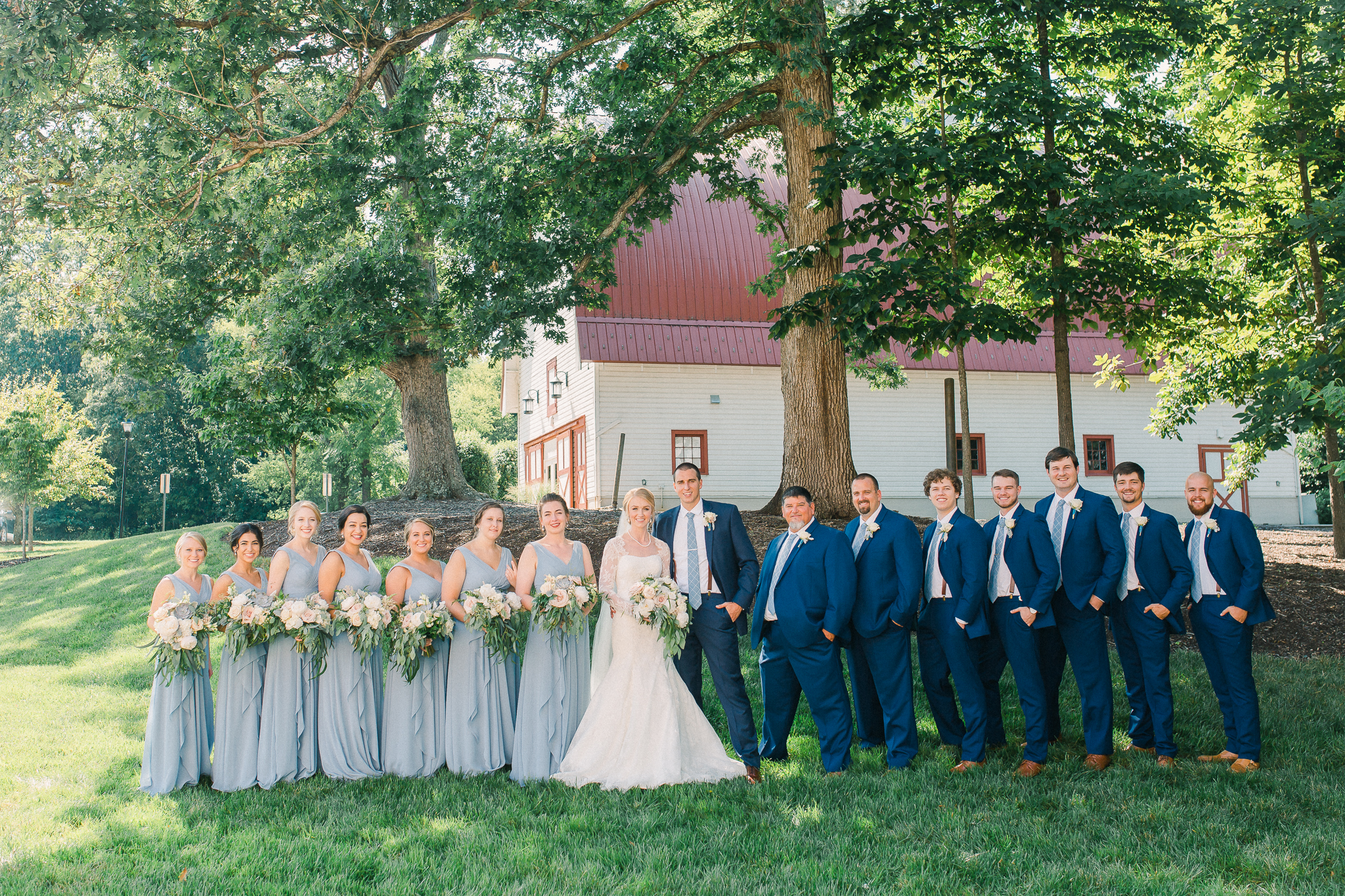 bridal party blues and greens