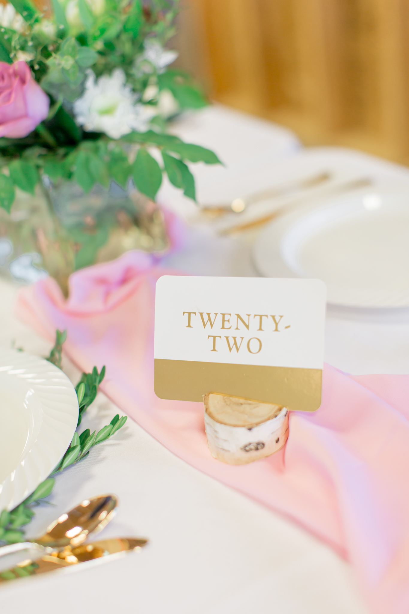 table number pink wedding