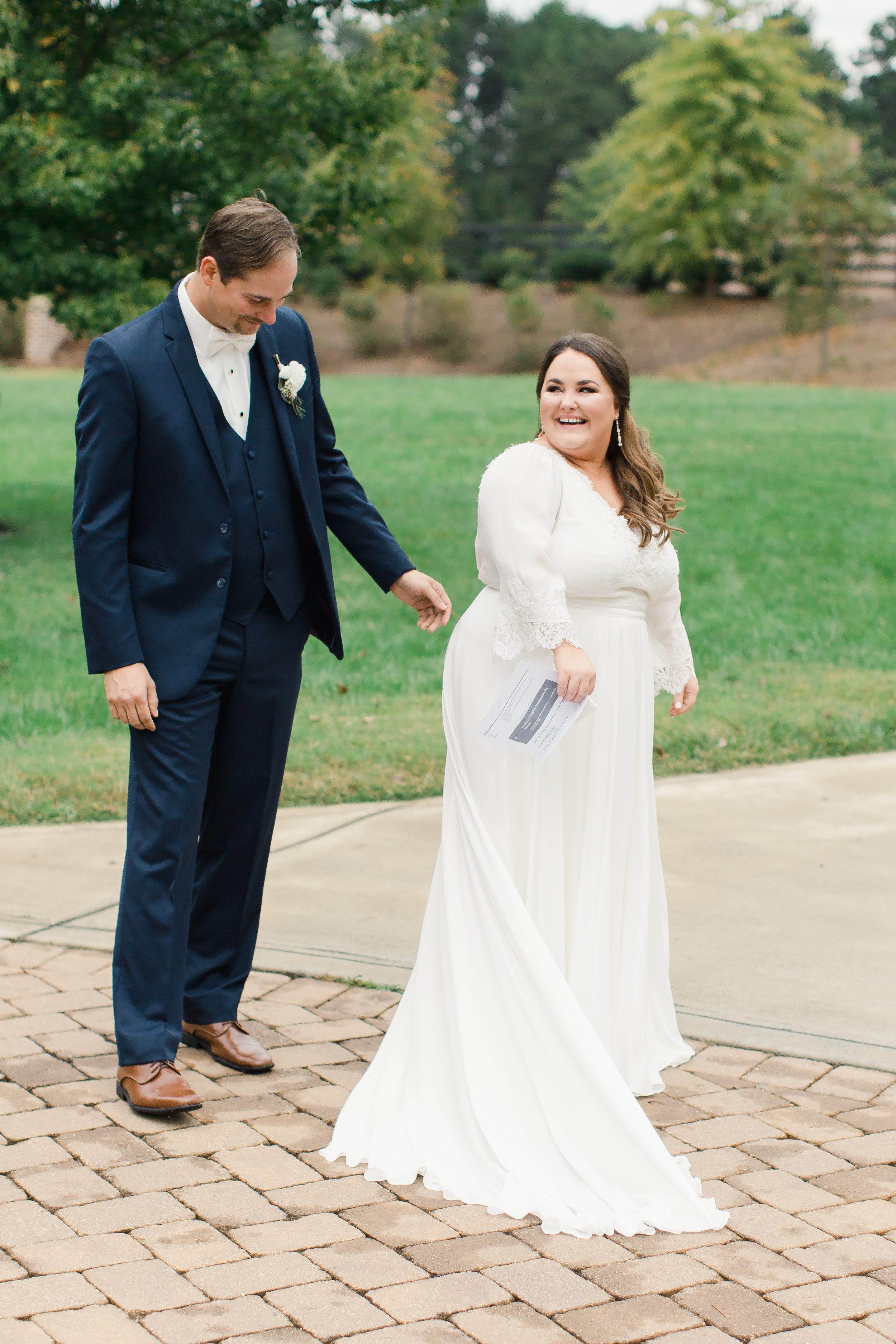 first look at mooresville wedding venue