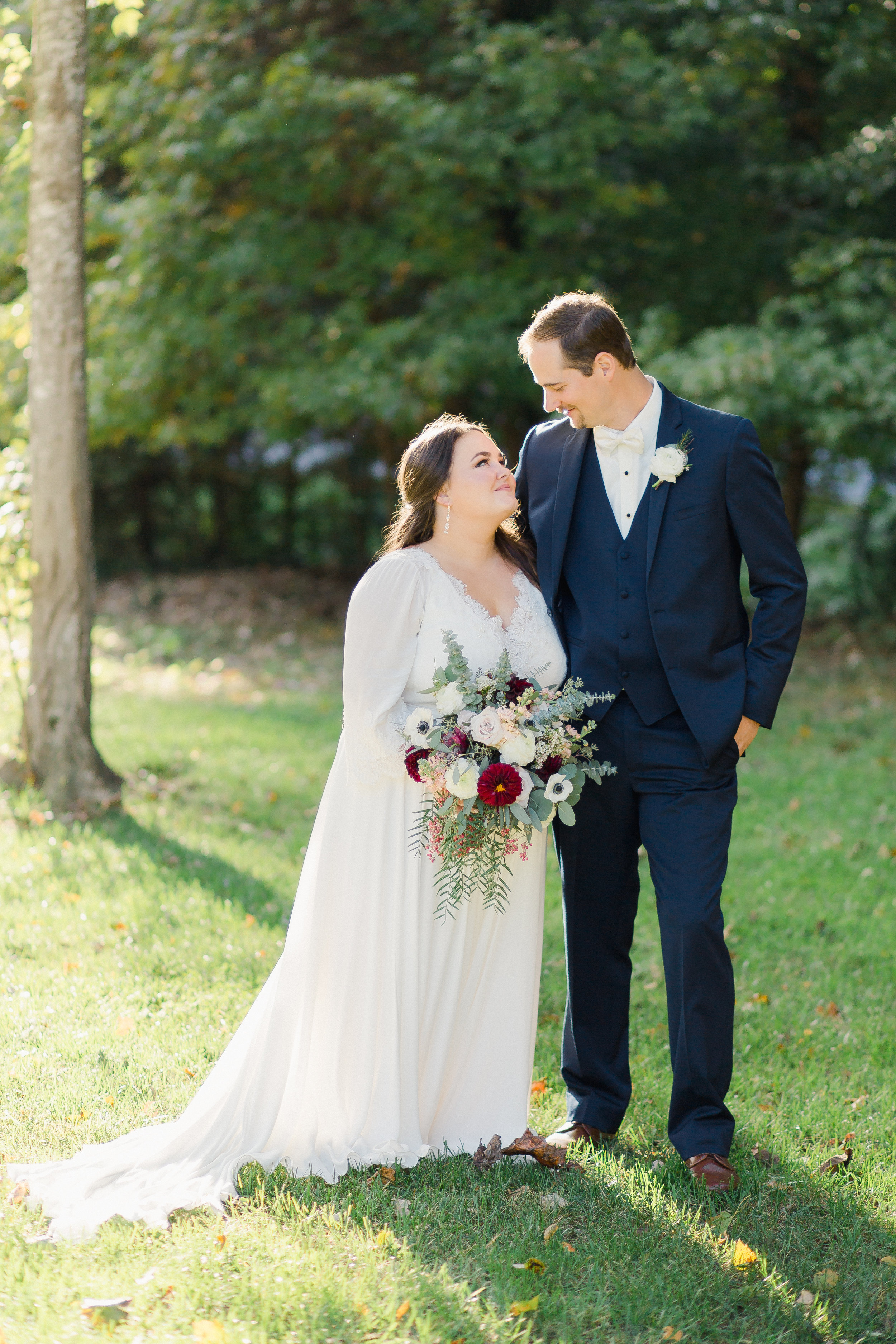 bride and groom portraits fall wedding