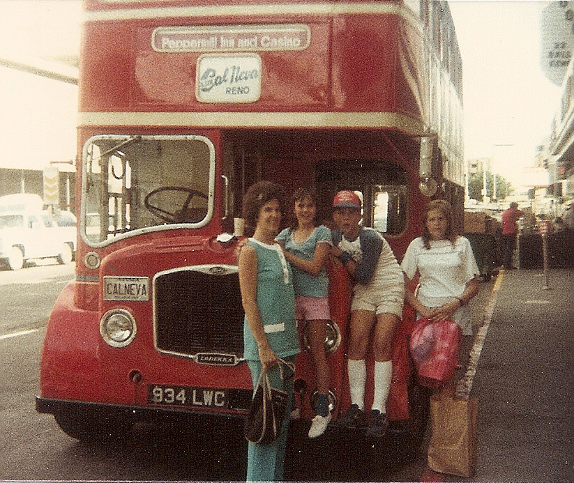 Carolaine with Grace, Gregg, and Elaine. Carol's first husband Glenn drove this shuttle for a time in Reno.