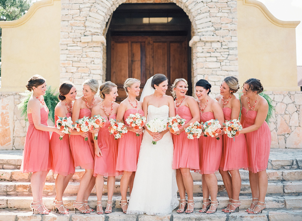 Coral J.Crew bridesmaid dresses