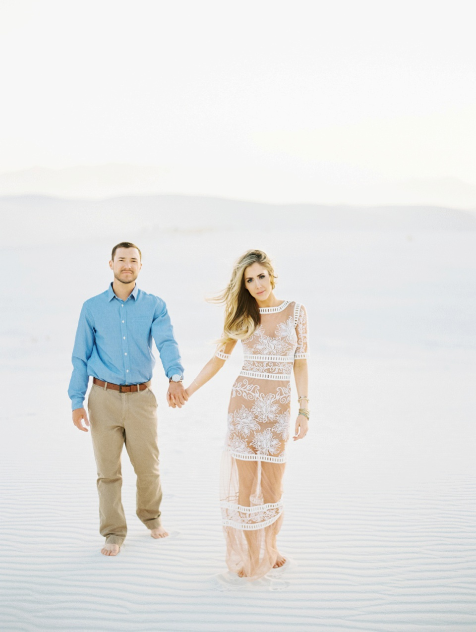 Becca Lea Photography, New Mexico Wedding Photographer, White Sands engagement session, White Sands National Monument, For Love and Lemons dress
