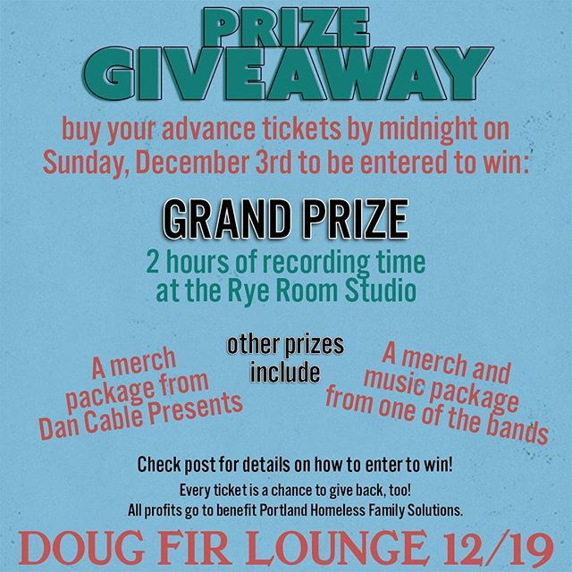 Buy charity tickets. Get prizes.  Buy a pre-sale ticket for Foxy Lemon, Camp Crush and The Get Ahead at Doug Fir on 12/19 and you'll be entered to win a drawing for prizes from our sponsors and the bands! Email campcrushmusic@gmail.comproof of your presale (ticket can be bought anytime before midnight on 12/3) to be entered. BONUS: all those entering the giveaway will be sent a free download of music from one of the bands!