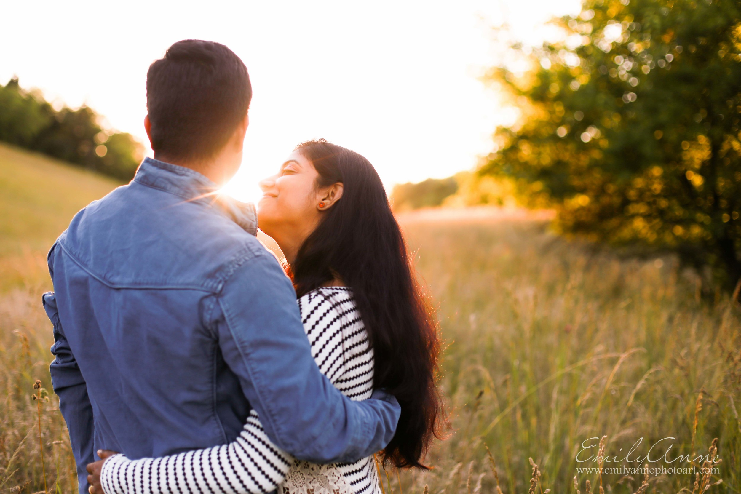 golden sunset anniversary shoot in brentwood with Indian couple