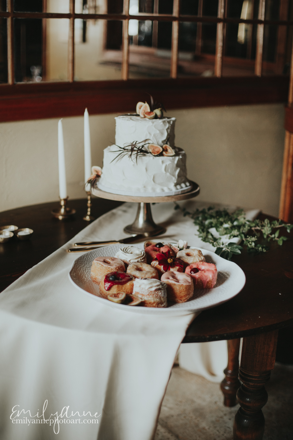 most perfect wedding cake and donuts for a wedding in Nashville at the top venue Foundry Events by Wedding Photographer Emily Anne