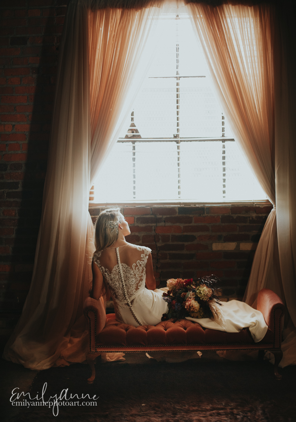 gorgeous bride on rent vintage sparkle furniture in the hippest venue in Nashville - new hipster place Foundry Events by Emily Anne photo art