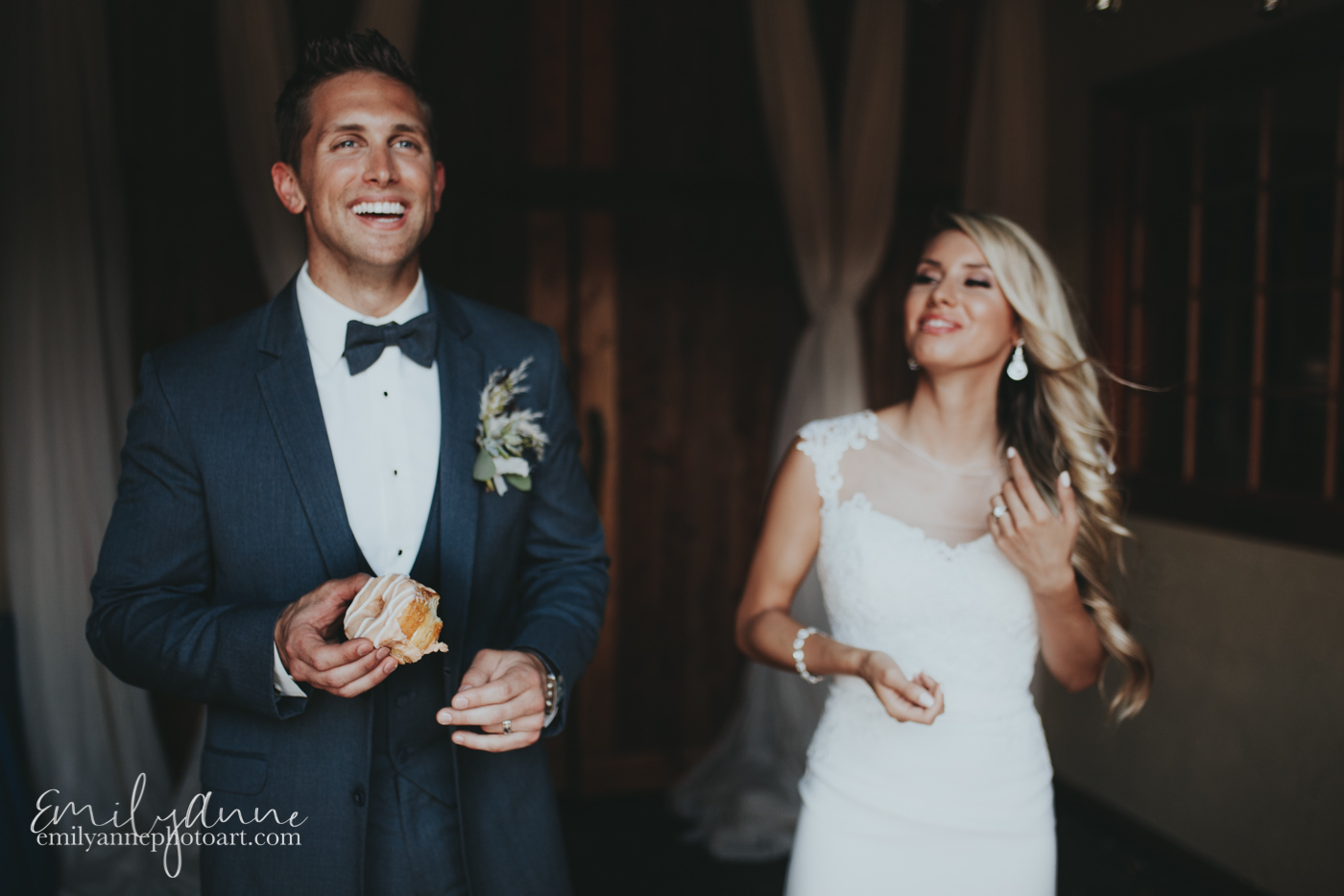 Groom feeding bride Five Daughters Bakery Donuts at the Foundry Wedding Venue Nashville TN