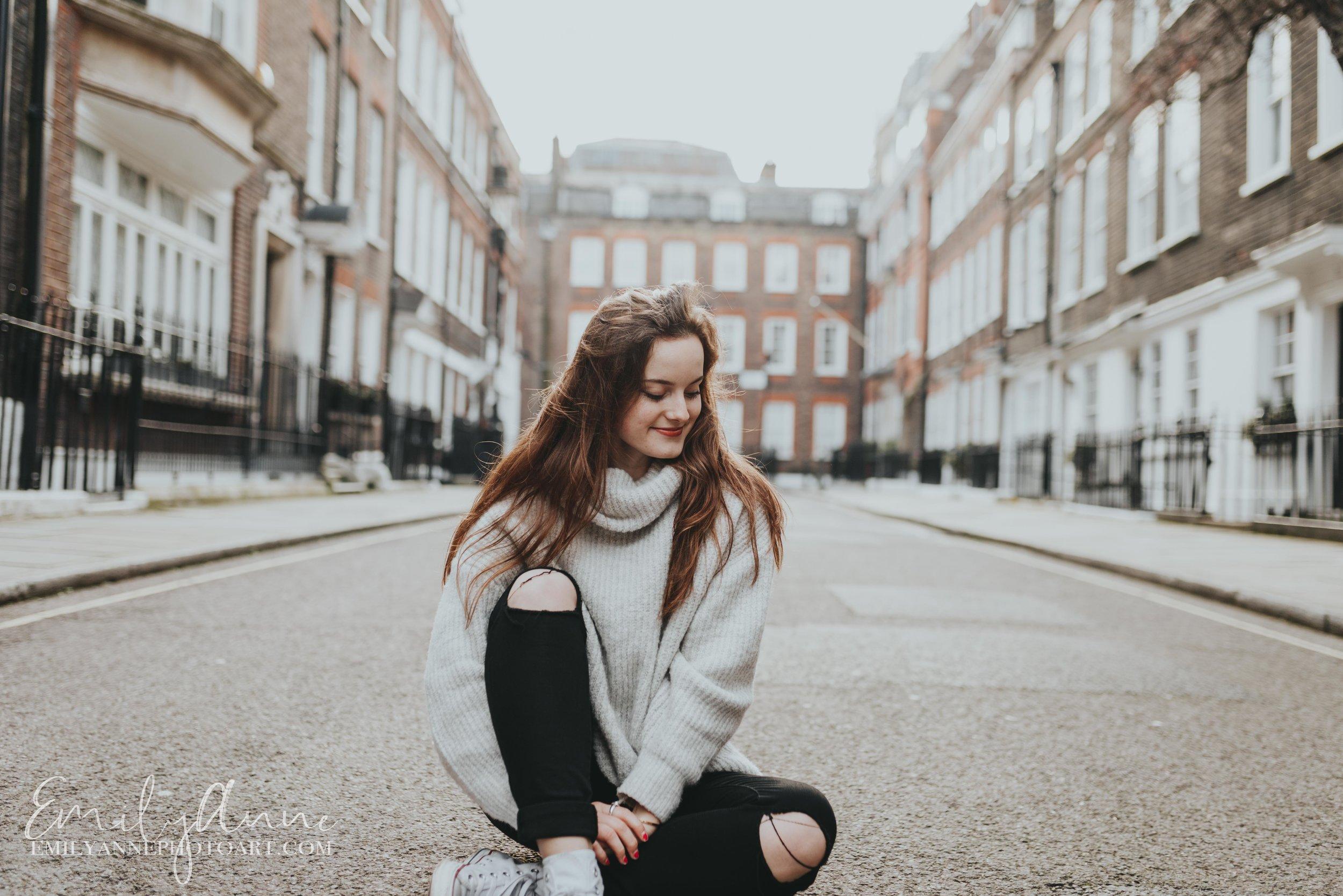 fun senior/model portraits in London UK by Nashville Photogrpaher Emily Anne