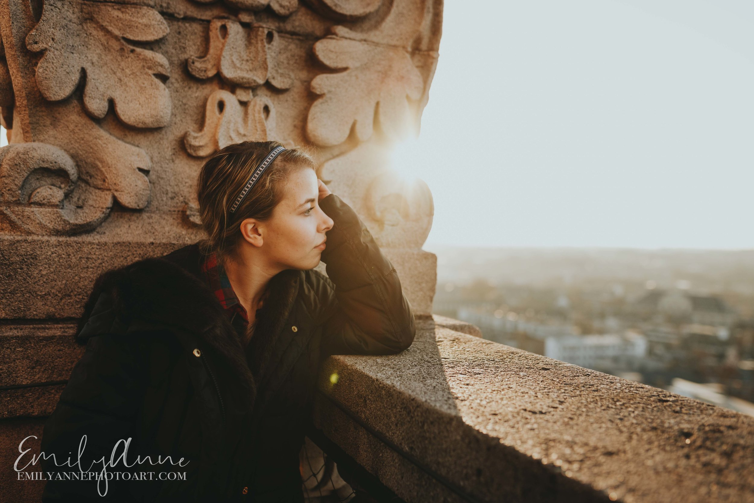 sunset golden portrait shoot on the bell tower in the library Leuven by top European wedding portrait photographer Emily Anne Photo Art
