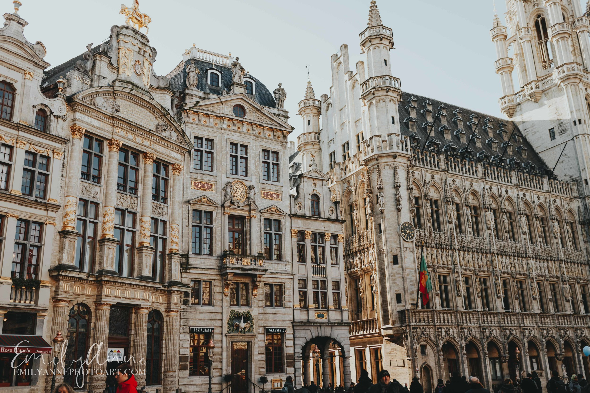 Grand Place Central Market Town Hall of Brussels - Top places to visit in Belgium - Best of Belgium by Belgian Portrait & Wedding Photographer Emily Anne