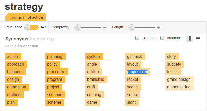 """Screenshot of thesaurus entry for """"strategy"""""""