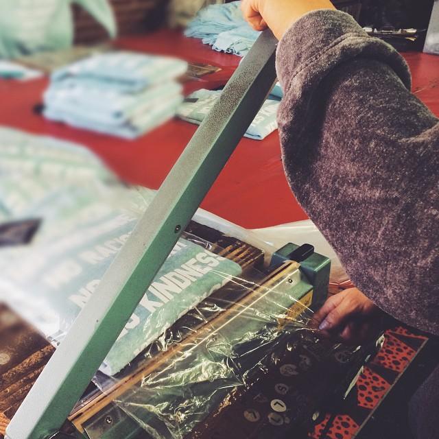 PACKAGING: steam/press/tag/fold/bag #RuleLA @jacvanek @revolveclothing @nastygal #garment #fashion #screenprint #fabric #la #cutandsew #jacvanek #production