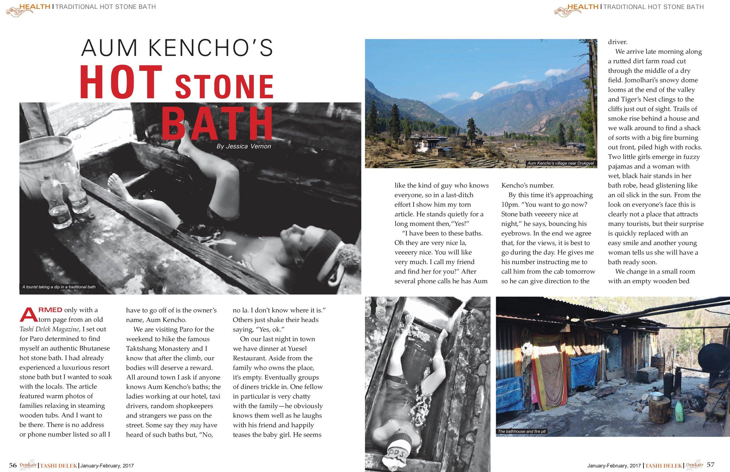 Jan. 2017: Aum Kencho's Hot Stone Bath