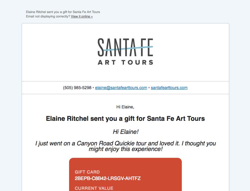 santa fe art tours gift card 5