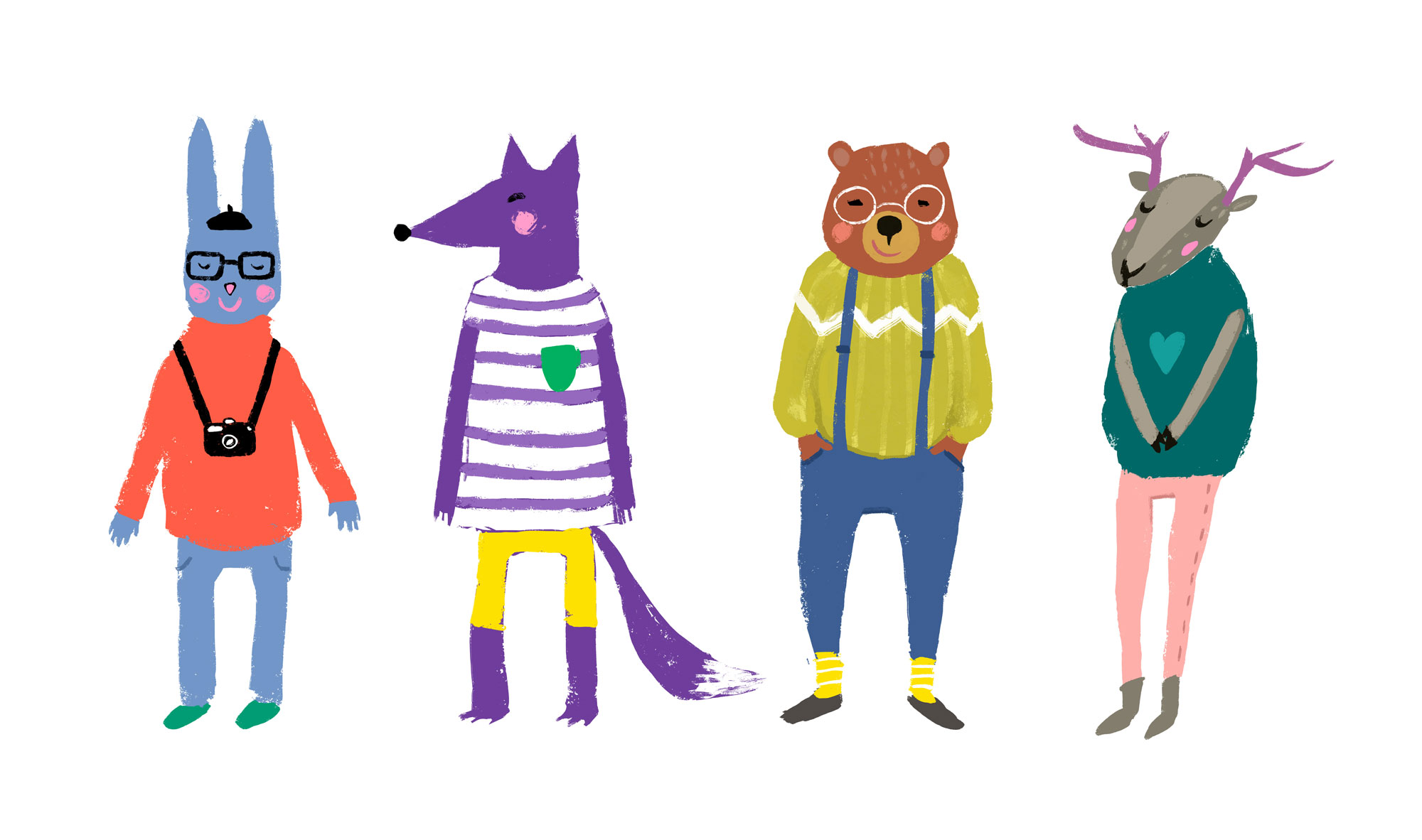 Hipster animals dressed and ready for school. bella mag